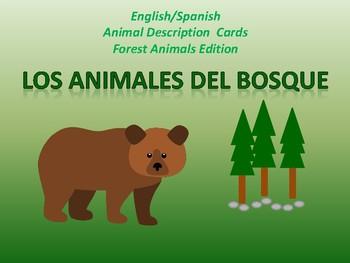 English/Spanish Animal Description Cards Forest Edition