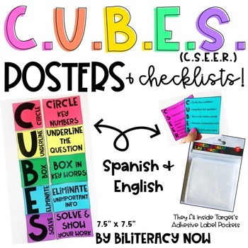 English & Spanish CUBES Math Solving Posters & Checklist!
