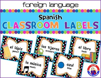 English to Spanish Classroom Labels: Polka-Dotted