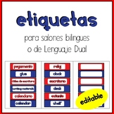 English/ Spanish Classroom labels