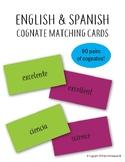 English Spanish Cognate Matching Cards Game Memory ESL, EF