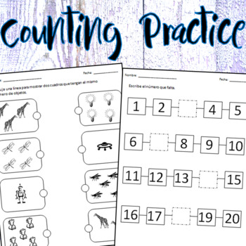 English & Spanish - Counting Practice - Worksheets & Activity Cards