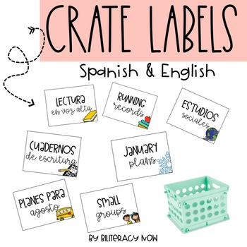 English & Spanish Crate Labels! 58 Labels Total!