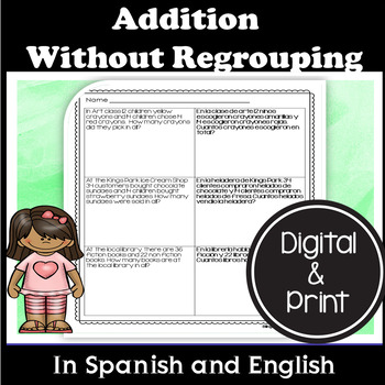 English/Spanish Double Digit Addition Without Regrouping Word Problems