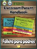 English + Spanish EDITABLE Parent Flip Book Handbook - Fol