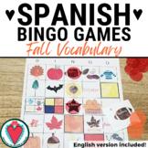 Spanish Seasons Fall Vocabulary Bingo - Spanish Listening