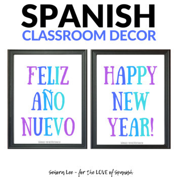 English Spanish Happy New Year Poster - Feliz Año Nuevo Poster