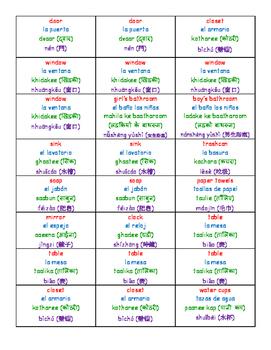 English-Spanish-Hindi-Mandarin Classroom Labels (Basic)