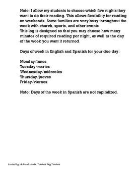 English/Spanish Homework Reading Log