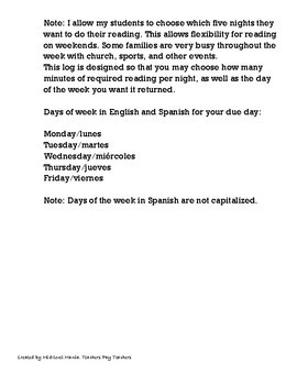 English/Spanish Homework Reading Log