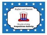 English & Spanish July 4th Prepositions