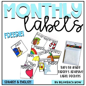 English & Spanish Monthly Labels! Target Pocket Sized! FREEBIE!
