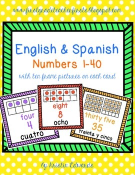 English & Spanish Number Cards with Ten Frame Pictures