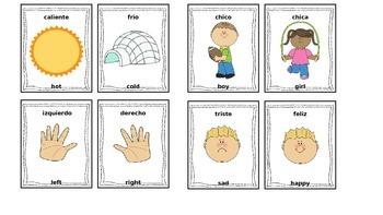 English-Spanish Opposite (Antonym) Picture Flash Cards