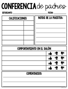 English & Spanish Parent Conference Templates - EDITABLE Versions