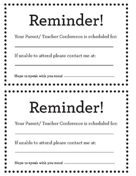 English/ Spanish Parent Teacher Reminder Cards