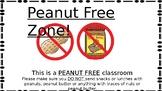 English/Spanish Peanut Free Zone Sign