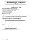 English-Spanish Report Card Comments Quick Reference