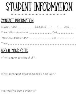 Student Information Sheet English/Spanish