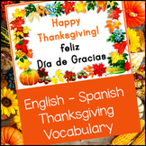 English - Spanish Thanksgiving Vocabulary Cards - Word Wall
