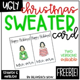 English & Spanish Ugly Christmas Sweater Bitmoji Card FREEBIE!