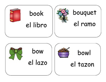 English Spanish Vocabulary Cards