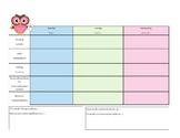 English/Spanish Weekly Agenda- Owl Theme
