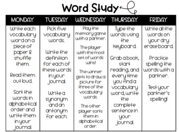 English & Spanish Weekly Word Study Menu!