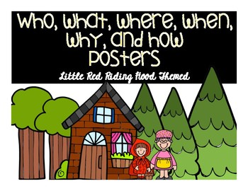 English & Spanish Who, What, Where, When, Why, and How posters