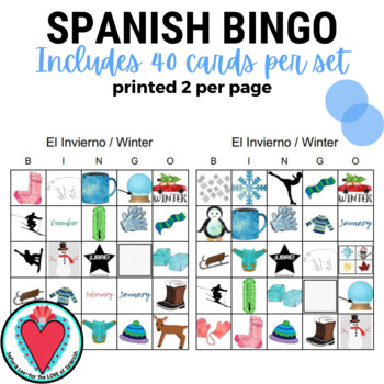 English Spanish Winter Vocabulary Bingo
