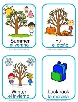 English/Spanish Words Flashcard 4