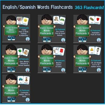 English/Spanish Words Flashcards Bundle