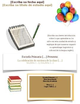 English-Spanish Writing Celebration Flyer with Balloons