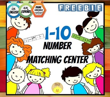 FREE 1-10 Number Match Center. English, Spanish and Dual versions.