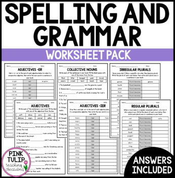 English, Spelling and Grammar - Unit 1, Worksheet Pack
