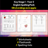 English Spelling and Phonics Pack - LE endings as in apple (əl)