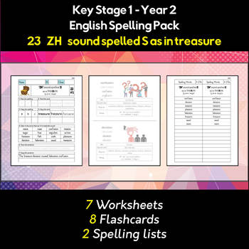 English Spelling and Phonics Pack - 'ZH' sound spelled S as in treasure