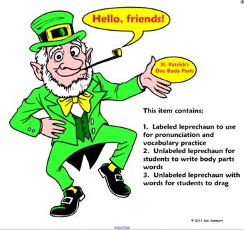 St. Patrick's Day Label the Leprechaun SmartBoard Activity