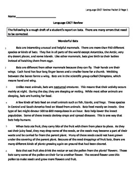 English Standardized Test Review - Wonderful Bats