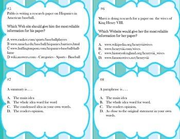 English Standarized Test Task Cards