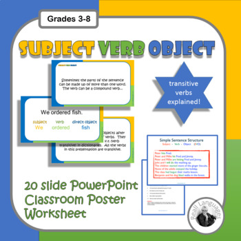 English Subject Verb Object Sentences Presentation And Worksheet