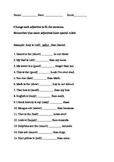 English Superlative Practice Worksheet