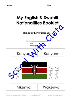 English / Swahili: Nationalities Flash Cards / Practice Writing / Word Booklet
