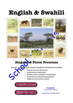 English / Swahili: Pronouns Flash Cards / Practice Writing / Word Booklet