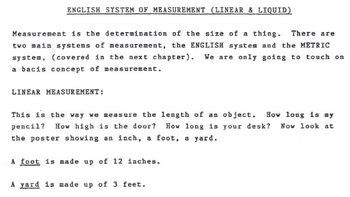 English System of Measurement (Linear & Liquid)