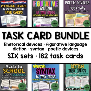 ELA Task Card Bundle: Rhetorical Devices, Figurative Langu