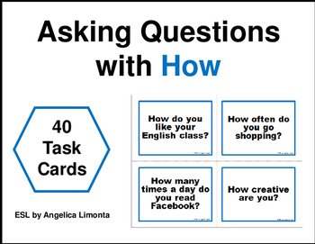 English Task Cards: Asking Questions with How