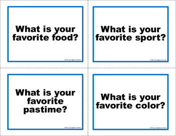 English Task Cards: What Are Your Favorite Things?