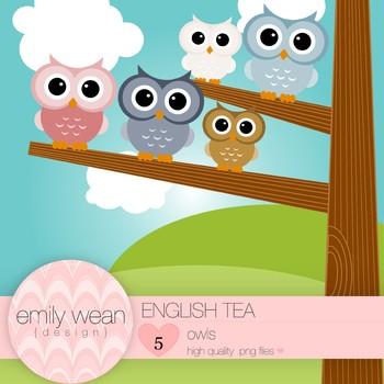 English Tea - Owl Clip Art