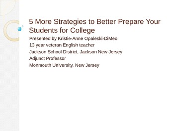 Strategies to Better Prepare Students for College